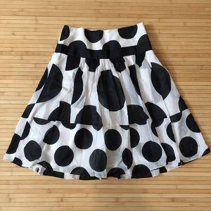 Zara basic silk blend A line polka dots